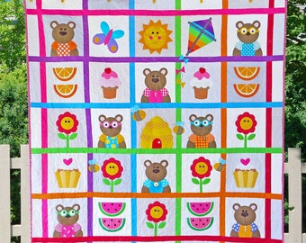 Teddy Bear's Picnic | Quilt Patterns | PDF Pattern | Quilts | Teddy Bear Quilt | Teddy Bears | Applique Quilts | Happy Quilts | Kids Quilts