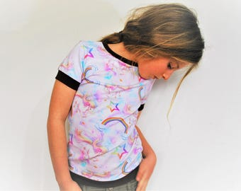 Rainbow unicorn girls t shirt top fitted style pastel kitsch unicorns cute cotton star print baby vest soft colourful tee toddler t-shirt