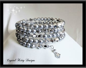 Bracelet Cuff Memory Wire Silver Swarovski Crystal and Gray/Silver Pearl One Size Fits All Memory Wire Bracelet