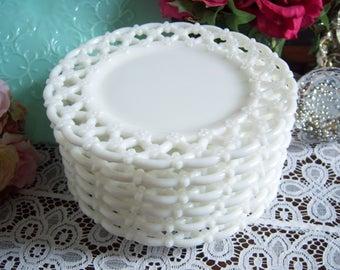 "Milk Glass Plates - Six Westmoreland Milk Glass ""Forget-Me-Not"" Plates - Vintage Wedding -Lace Edge Milk Glass Plates - Wedding Milk Glass"