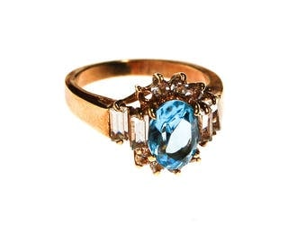 Blue Topaz and CZ Statement Ring, Gold Plated, Ring Size 6