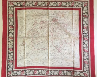 Antique Cotton Scarf Map of Switzerland Scarf Floral Scarf