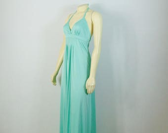 Vintage Dress 70s 1970s Halterneck Dress Halston Style Seafoam Aqua Halter Dress Pleated Detailing Modern Size XS Extra Small