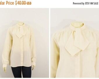 MOVING SALE Vintage Shirt Vintage Blouse Ivory Necktie Long Sleeves Niki Size 18 Modern Size L - Xl