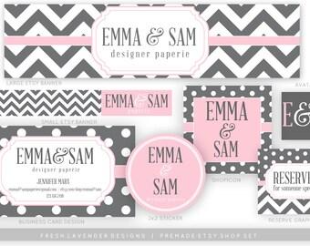 Chevron Etsy Banner / Etsy Shop Set / Grey & Pink Etsy Set / Polka Dot Shop Set / Custom Etsy Banner / Custom Etsy Set / Etsy Shop Graphics