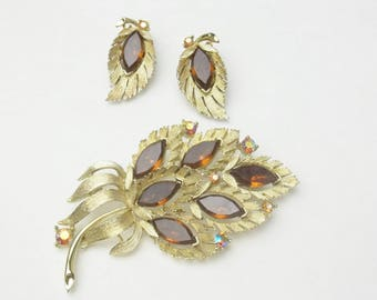 Signed Lisner 1960s Marquise Topaz Rhinestone Vintage Hollywood Glamour Demi Parure Brooch Pin Earrings Costume Jewelry Gift For Her on Etsy