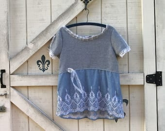 Gray lace sweatshirt bohemian hippie top gray jersey top upcycled sweatshirt