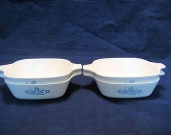 4 Corning Ware Cornflower Blue Petite Pans Vintage 1970s Small Individual Corningware Casserole Dishes