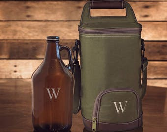 Personalized Monogram Initial Growler and Cooler Set Great Groomsmen Father's Day Beer Lover Gift