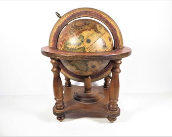Vintage Wood Olde World Globe - Table Top World Globe on Wood Stand