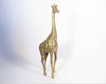 Vintage Brass Giraffe - Large Brass Giraffe Figurine