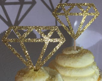 12 Gold Diamond Diamonds  Cupcake Toppers Topper Wedding Bride Engagement Ring