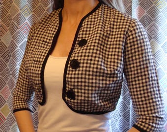 BLACK and WHITE GINGHAM vintage cropped jacket 50's 60's xs