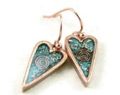 Orgone Energy Earrings - Small Primitive Heart Dangle Earrings in Antique Copper with Turquoise - Artisan Jewelry - Orgone Jewelry