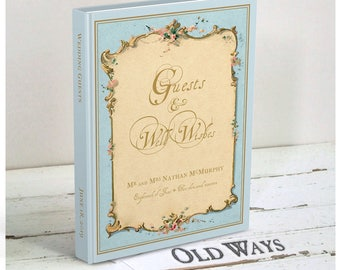 Something Blue Vintage Wedding Guest Book - Antique Blue Personalized Guest Book - Traditional, Hardcover - Other Colors Available