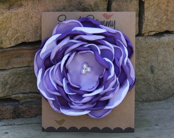34 Colors Large Satin Flower Pin, Purple/Lavender/White Satin Flower Pin