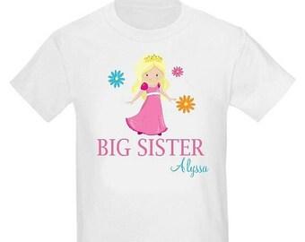 ON SALE Big Sister Princess Pink Blonde Sister Shirt Personalized T Shirt