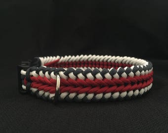 NEW!!!  Red, White and Blue Paracord Dog Collar in the Wide Sanctified Weave (custom size)