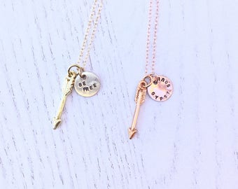 Rose Gold Arrow,Gold Arrow,Be Free,Gypsy Soul,Personalized Necklace,BohoJewelry,Minimalist Jewelery,Initial Jewelry