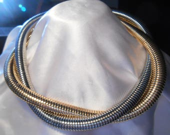 Two Tone Slinky Chain Choker Vintage Retro Necklace Signed C