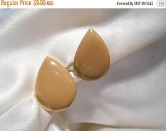 50% Off Sale Tan Enamel Tear Drop Shaped Clip Style Vintage Earrings