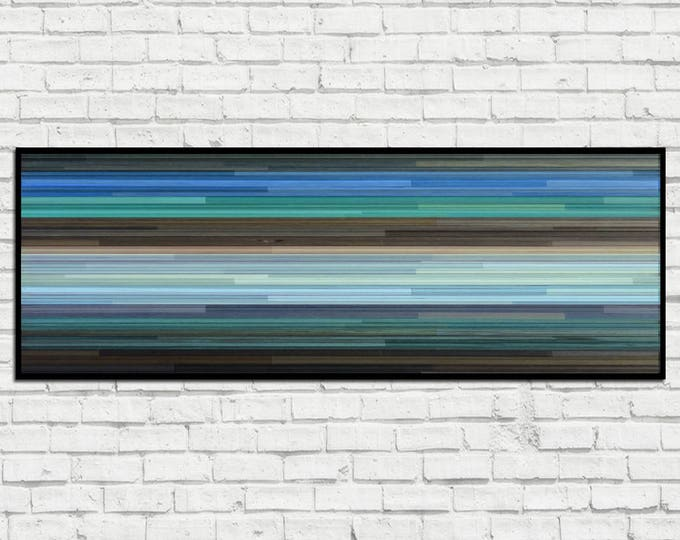 Horizontal Cove - Reclaimed Wood Art in Blues, Teal, and Browns - Wood Wall Art - Modern Art, Abstract Art, Minimalist Art