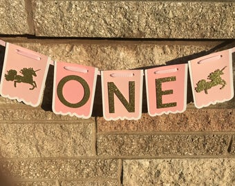Pink and Gold Glitter Unicorn ONE Banner