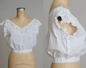 Edwardian Crochet Crop Blouse White Cotton Side Button Blouse