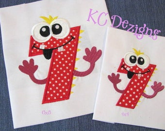 Silly Monster Number 7 Machine Applique Embroidery Design - Silly Monster Number, Monster Number, Monster Number Applique, Birthday Number