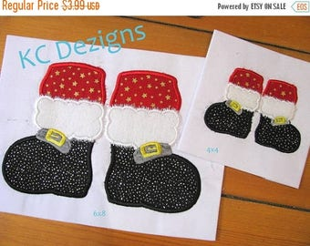 ON SALE Santa Feet Machine Applique Embroidery Design - 4x4, 5x7 & 6x8