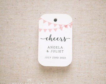Cheers Bunting Wedding Favor Tags, Personalized Gift Tags,Bridal Shower,Thank you tags, Custom Gift Tags - Set of 24 (Item code: J725)