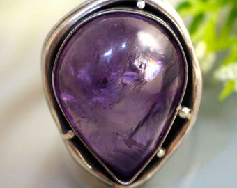 Amethyst Stone Ring Sterling Silver Jewelry by Izovella