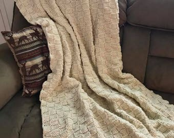 Off White Basketweave Knit Blanket - Neutral Knit Afghan - Lapaghan - Cream Throw - Linen - Oatmeal Colored