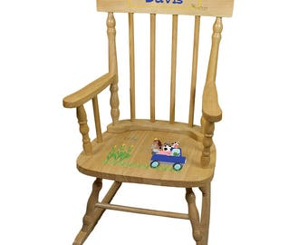Personalized Natural Childrens Rocking Chair with Blue Farm Truck Design-spin-nat-244