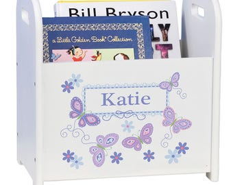 Personalized Book Caddy and Storage with Lavender Butterflies Design-cadd-whi-300b