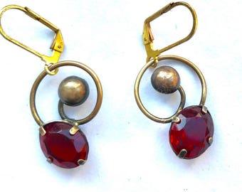 Vintage Goldplated Red Crystal Earrings