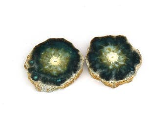 Green Agate Slices Designer Cabochon Gemstone Pair 26.5x29.3x4.2 mm 55.7 carats Free Shipping