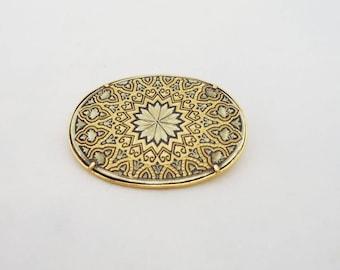 Vintage Oval Toledo Damascene Brooch, Damascene Pin, Black and Gold Brooch