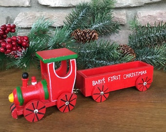 Baby's First Christmas Toy Train - Vintage Wooden Toy Train - Christmas Ornament - Baby Photo Holder