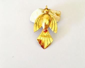 Vintage CORO Bird Brooch, Solid gold Tone, red rhinestones, Clearance Sale, Item No. B242