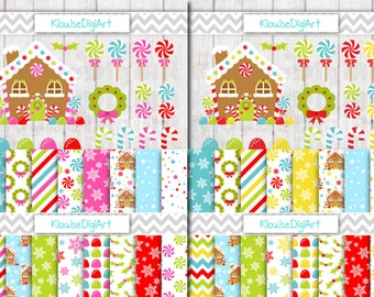 Christmas Holiday Gingerbread House Clipart Bundle and Matching Digital Papers for Personal and Small Commercial Use
