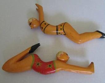 Vintage Hand Carved Wood Set of 2 Swimming Bathing Beauties Figures Figurines Lakeshore Beach Lady bathing Belles