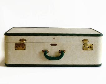 vintage large suitcase cream and green 1950s 1960s travel luggage