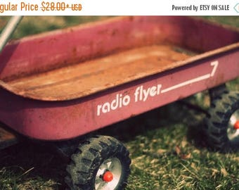 Christmas in July Radio Flyer Photo, Little Red Wagon Picture, Vintage Toy Photography,  Boy Bedroom Nursery Baby Toy Room Playroom Child Ho