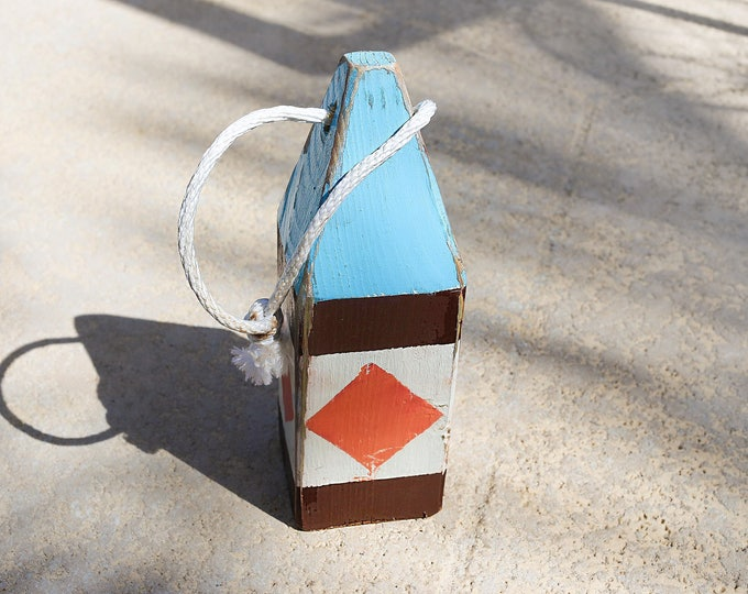 "Coastal Decor 11"" Lobster Buoy Navy Orange White Red Nautical Wooden by SEASTYLE"
