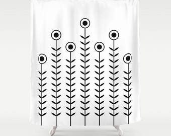 36 colours, Minimalist Flowers Shower Curtain, Scandinavian style, Black and White geometric shower curtains, flower pattern bathroom decor