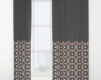 Modern Rustic, Single or Double panel curtains, Minimalist Hexagon, Honeycomb Pattern Curtains, Charcoal Black, Oyster Beige, Warm Taupe