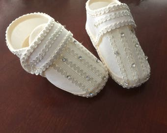 Baptism shoes, size 5 baby boy baptism shoes, Ivory shoes, christening shoes, silk shoes, baby baptism shoes, NARELO