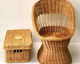 Vintage Natural Rattan Child Youth Chair