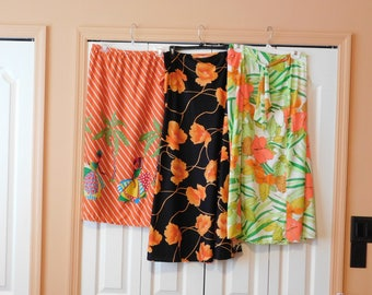 Lot of 3 Vintage Summer Skirts - Colorful, Tropical
